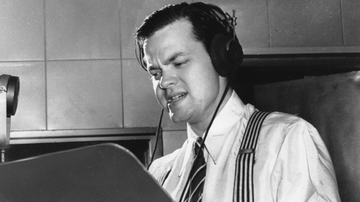 Orson Welles delivers a radio broadcast from a New York studio in 1938. (AP Photo)